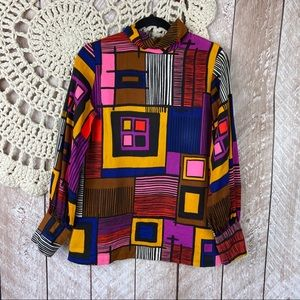Vintage Mardi Modes Psychedelic Geometric Top